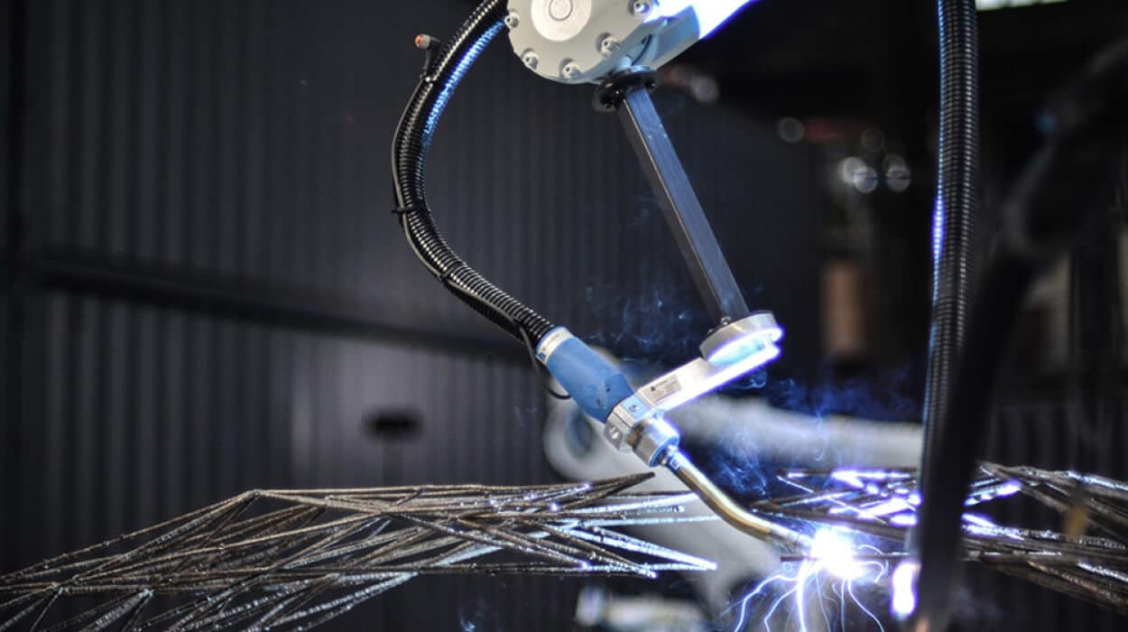 Les robots de la société MX3D vont, faire chauffer du métal à une température de 1 500°C qu'ils souderont ensuite au goutte à goutte, pour imprimer en 3D un pont.