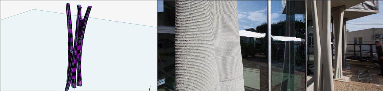les poteaux réalisés à l'aide de l'impression 3D